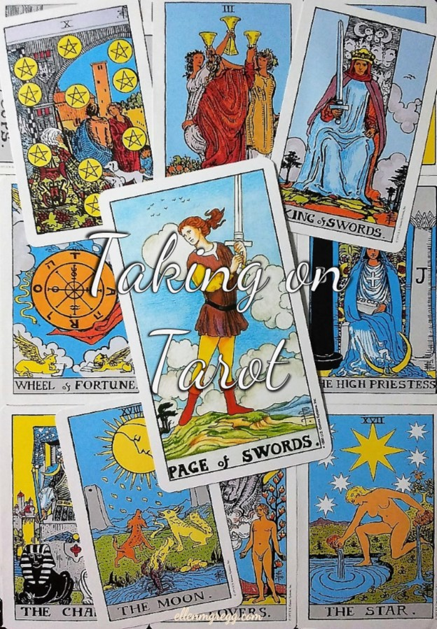 Page of Swords: Taking On Tarot, a self-study of the Universal Waite Tarot deck created by Stuart P. Kaplan, drawings by Pamela Colman Smith, recolored by Mary Hanson-Roberts, published by U.S. Games Systems, Inc.