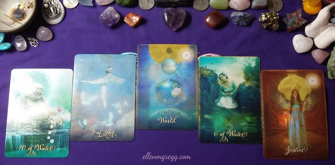 Cards drawn for the 1111 portal of 2017 from The Good Tarot: 10 of Water, 5 of Air, World, 6 of Water, Justice ~ Intuitive Ellen