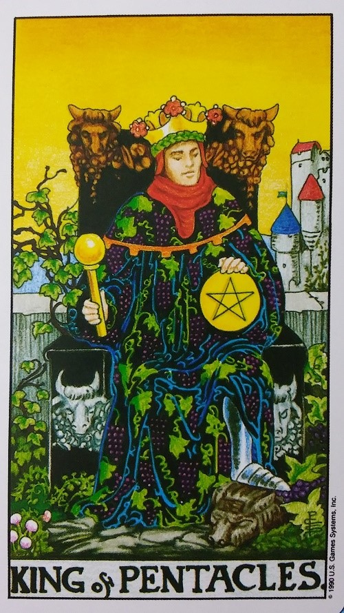King of Pentacles ~ Taking On Tarot, a self-study of the Universal Waite Tarot deck created by Stuart P. Kaplan, drawings by Pamela Colman-Smith, recolored by Mary Hanson-Roberts, published by U.S. Games Systems, Inc.