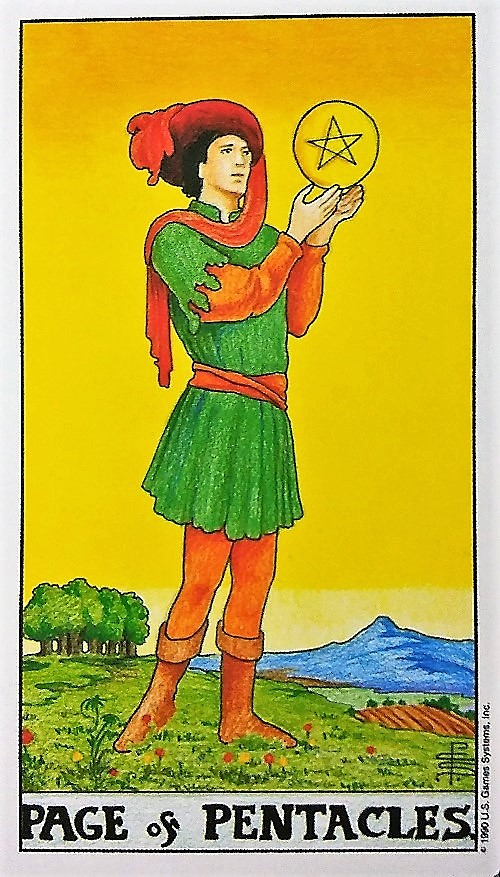 Page of Pentacles: Taking On Tarot, a self-study of the Universal Waite Tarot deck created by Stuart P. Kaplan, drawings by Pamela Colman Smith, recolored by Mary Hanson-Roberts, published by U.S. Games Systems, Inc. ~ Intuitive Ellen #tarot