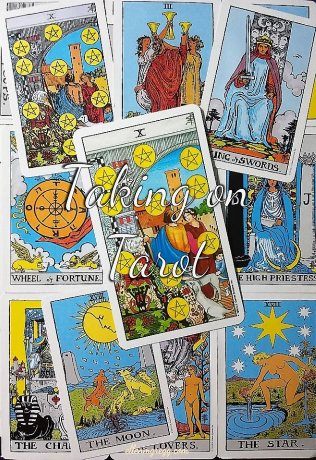 Ten of Pentacles: Taking On Tarot, a self-study of the Universal Waite Tarot deck created by Stuart P. Kaplan, drawings by Pamela Colman Smith, recolored by Mary Hanson-Roberts, published by U.S. Games Systems, Inc. ~ Intuitive Ellen #tarot