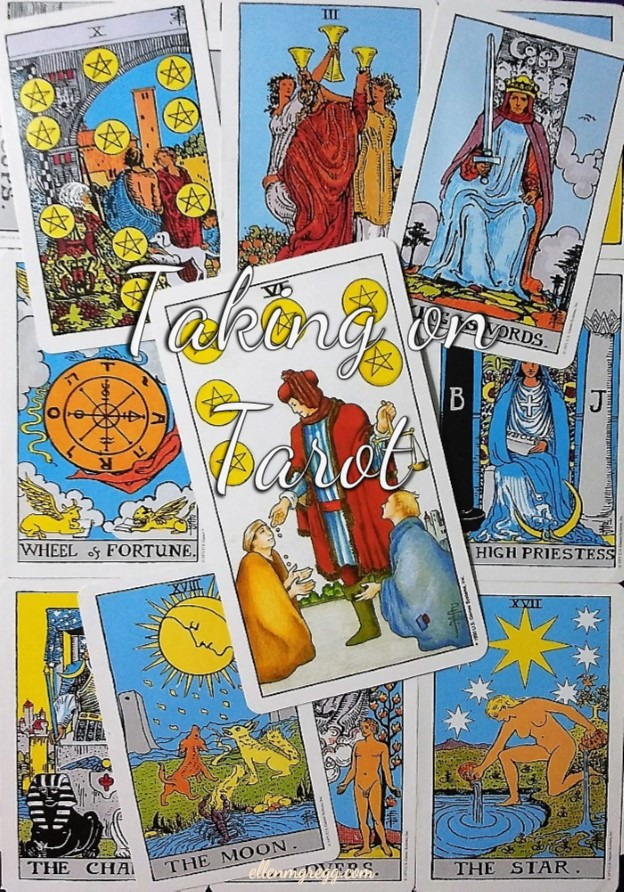 Six of Pentacles: Taking On Tarot, a self-study of the Universal Waite Tarot deck created by Stuart P. Kaplan, drawings by Pamela Colman Smith, recolored by Mary Hanson-Roberts, published by U.S. Games Systems, Inc.