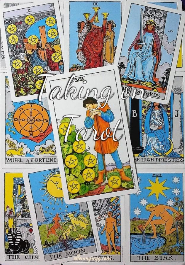 Seven of Pentacles ~ Taking On Tarot, a self-study of the Universal Waite Tarot deck, created by Stuart P. Kaplan, drawings by Pamela Colman Smith, recolored by Mary Hanson-Roberts, published by U.S. Games Systems, Inc.