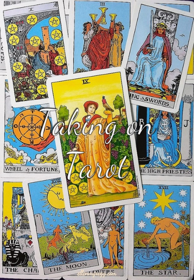 Nine of Pentacles: Taking On Tarot, a self-study of the Universal Waite Tarot deck created by Stuart P. Kaplan, drawings by Pamela Colman Smith, recolored by Mary Hanson-Roberts, published by U.S. Games Systems, Inc.