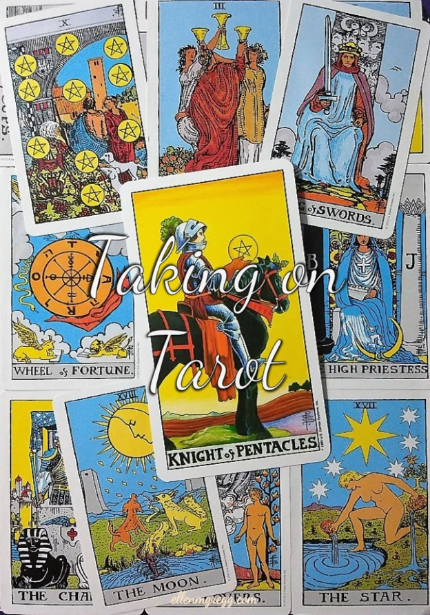 Knight of Pentacles: Taking On Tarot, a self-study of the Universal Waite Tarot deck created by Stuart P. Kaplan, drawings by Pamela Colman Smith, recolored by Mary Hanson-Roberts, published by U.S. Games Systems, Inc.