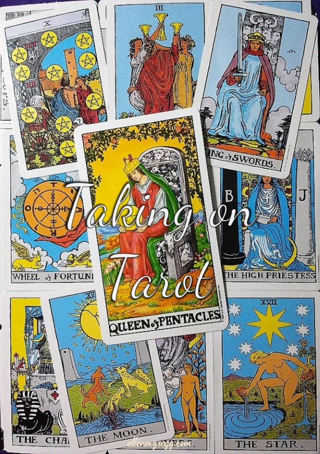Queen of Pentacles: Taking On Tarot, a self-study of the Universal Waite Tarot deck created by Stuart P. Kaplan, drawings by Pamela Colman Smith, recolored by Mary Hanson-Roberts, published by U.S. Games Systems, Inc.