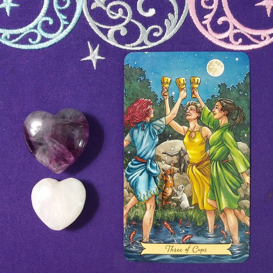 Easing the Transition :: Three of Cups from Everyday Witch Tarot | Ellen M. Gregg :: Intuitive, Healer :: The Soul Ways