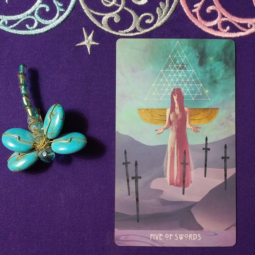 The Word Is Love ~ A post by Ellen M. Gregg :: Intuitive ~ Five of Swords from The Starchild Tarot Akashic