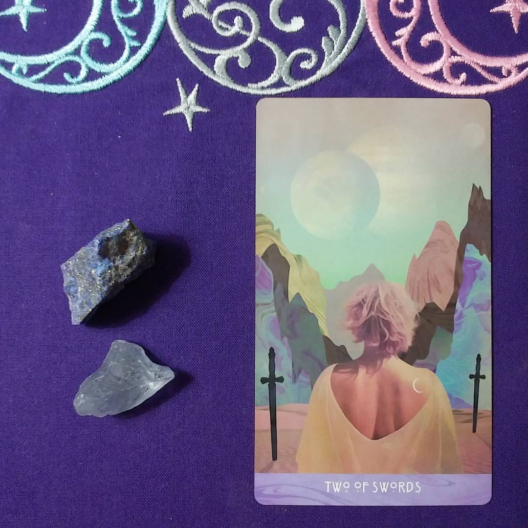 Mind Your Words ~ A post by Ellen M. Gregg :: Intuitive ~ Two of Swords from The Starchild Tarot Akashic