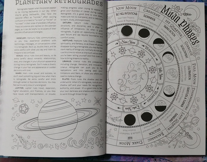 Planetary Retrogrades / Moon Phases :: Coloring Book of Shadows: Planner for a Magical 2019