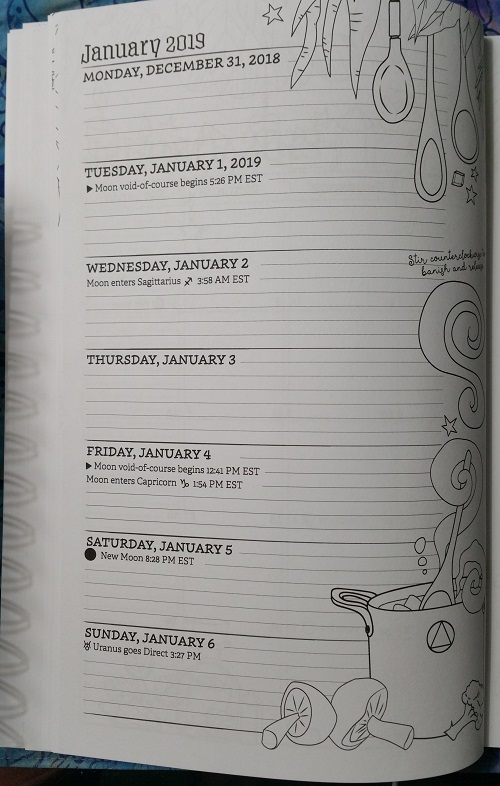 First week of January 2019 :: Coloring Book of Shadows: Planner for a Magical 2019