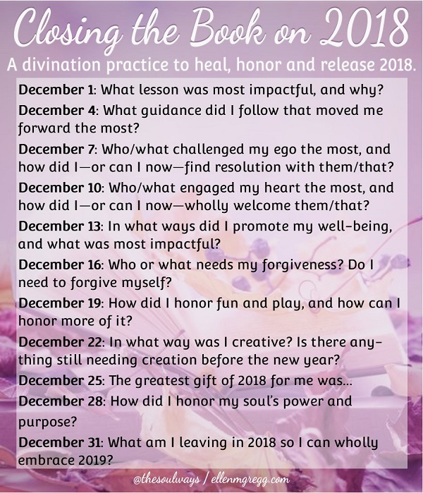 Closing the Book On 2018 Prompts by Intuitive Ellen :: Ellen M. Gregg ~ A divination practice to heal, honor and release 2018.