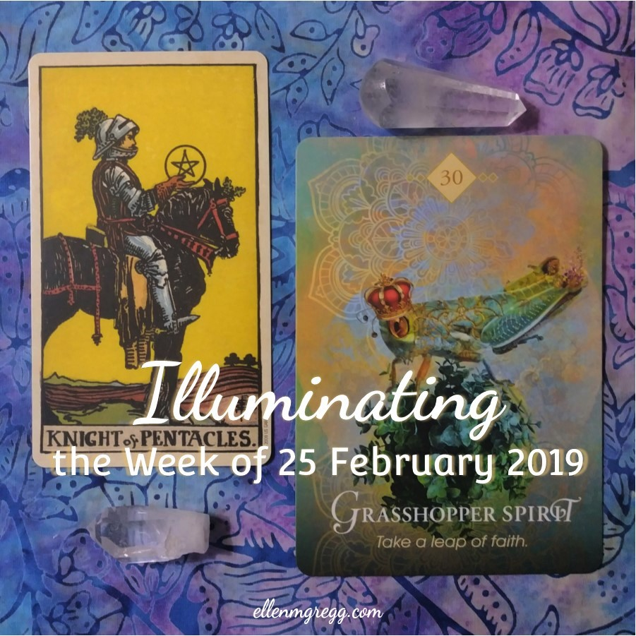 Illuminating the Week of 25 February 2019 ~ An intuitive energy reading by Ellen M. Gregg :: Intuitive ~ Knight of Pentacles from the Smith-Waite Centennial Tarot and Grasshopper Spirit from The Spirit Animal Oracle ~ #energyreading #intuitivereading #tarotreading #thesoulways