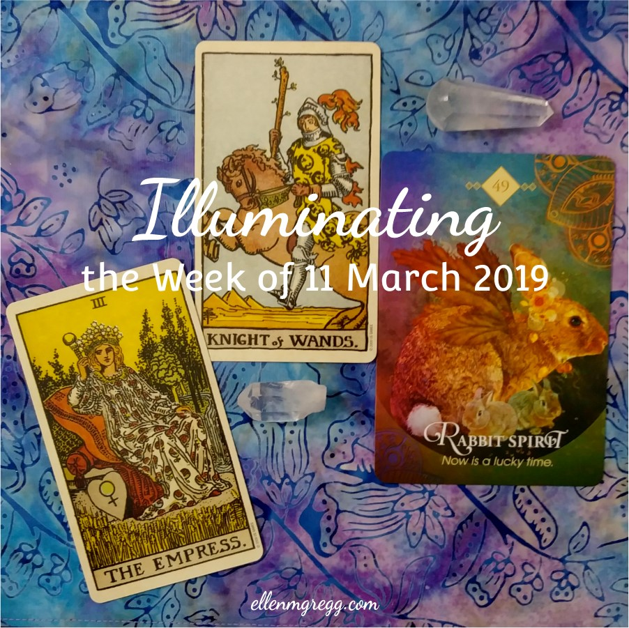 Illuminating the Week of 11 March 2019 ~ An intuitive energy reading by Ellen M. Gregg :: Intuitive ~ Knight of Wands (and our jumper, The Empress) from Smith-Waite Centennial Tarot, and Rabbit Spirit from The Spirit Animal Oracle ~ #energyreading #intuitivereading #tarotreading #thesoulways