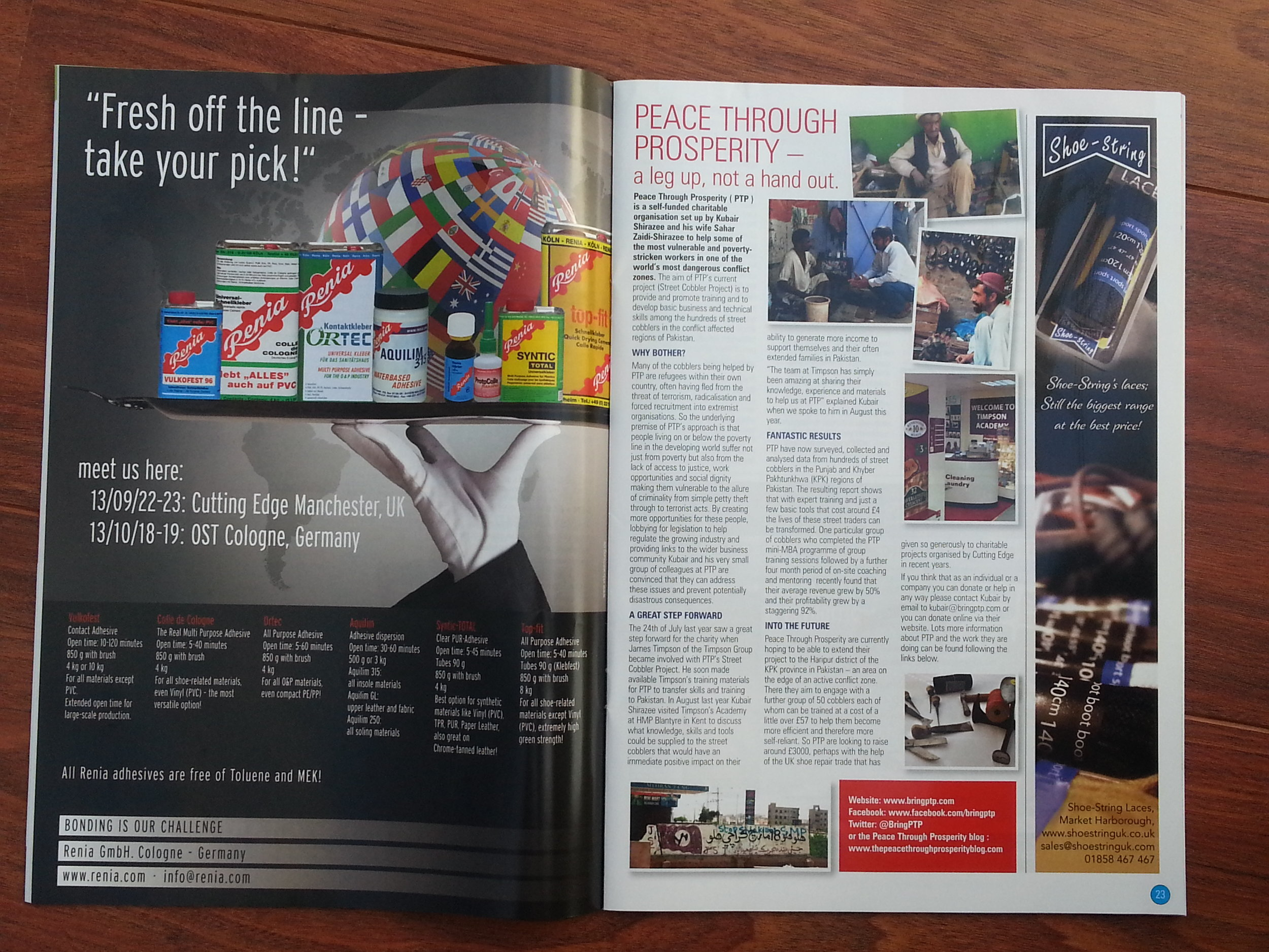 Cutting Edge trade magazine for UK Shoe Repairer - Featuring Peace Through Prosperity