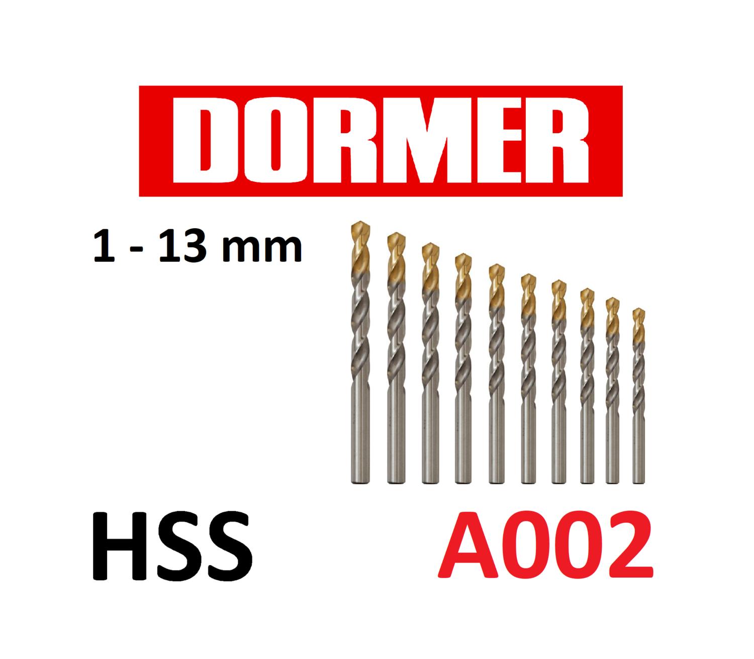 high quality! Dormer A002 HSS Tin Coated jobber drills Imperial various sizes