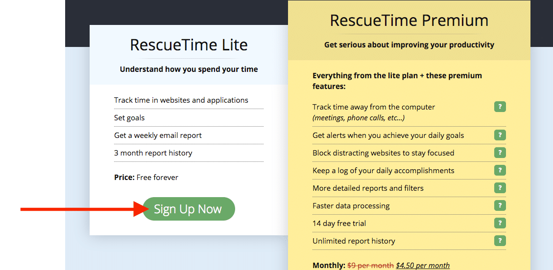 rescue time sign up free