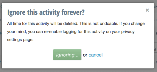 ignore an activity forever in rescue time