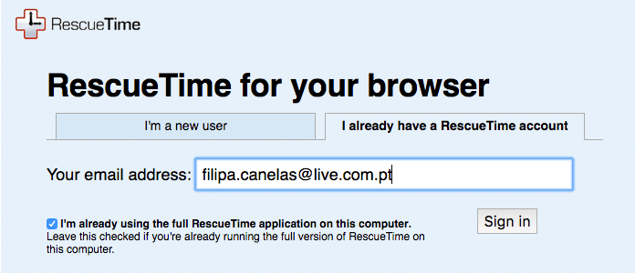 rescue time chrome extension login