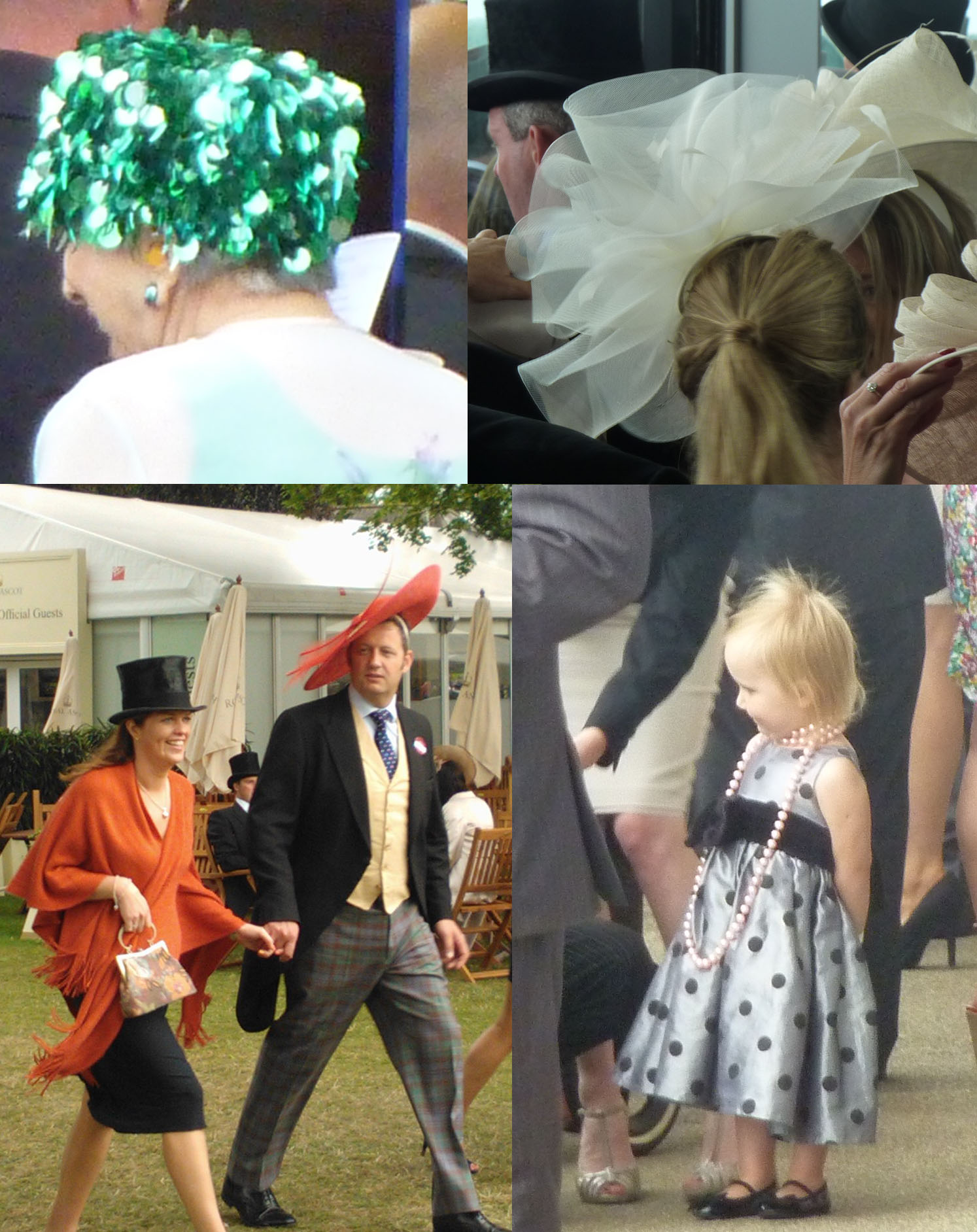 Clockwise from top left: a lady in sparkly shower cap-like millinery; crinoline overload; they start them early!; hat swap at the end of the day.
