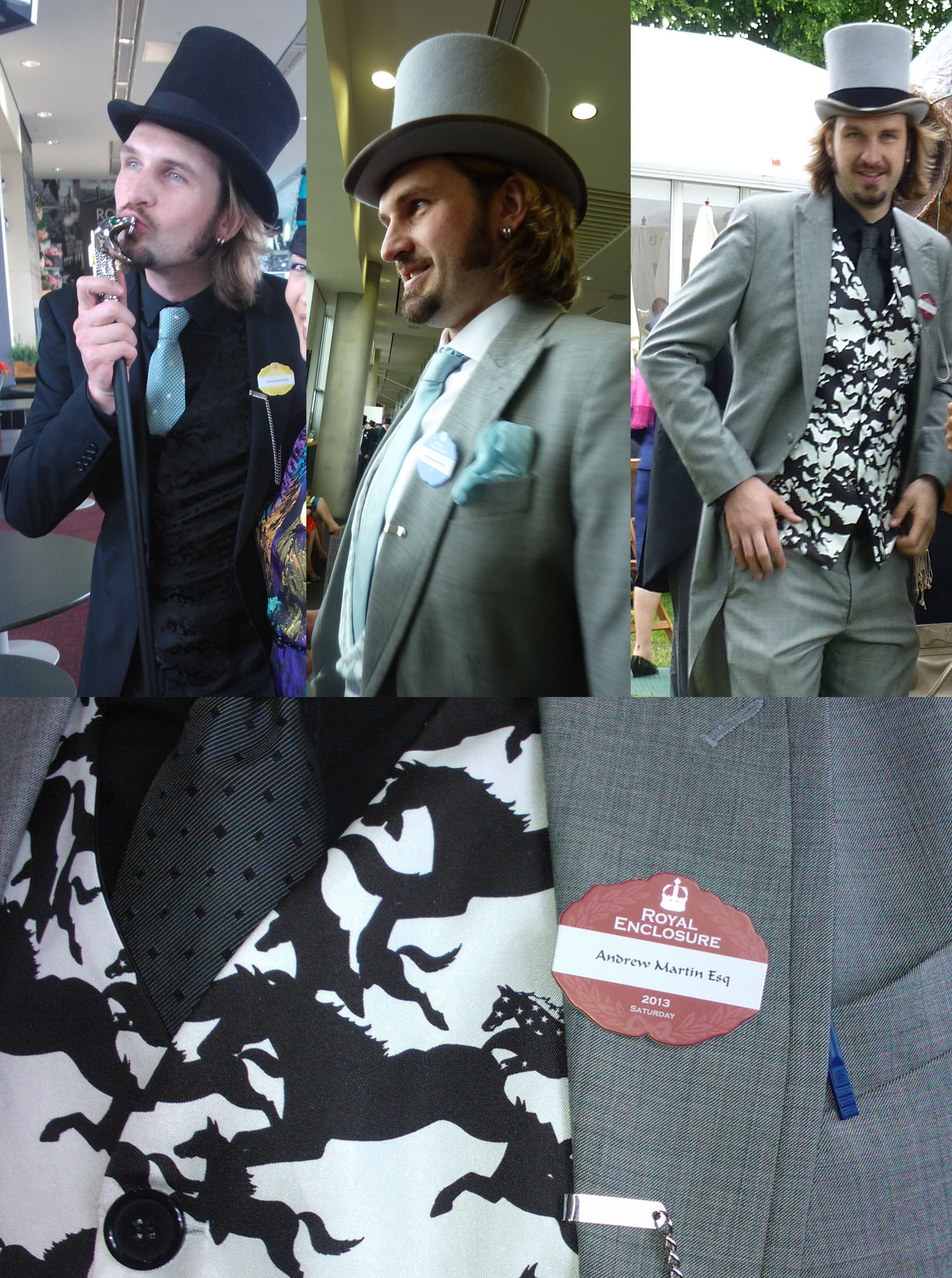 Drew's Royal Ascot outfits, clockwise from top left: Tuesday, Friday, Saturday and a close-up of his custom waistcoat.