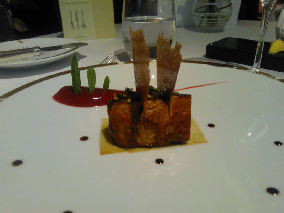Roast Foie Gras, Barberry, Braised Kombu and Crab Biscuit.