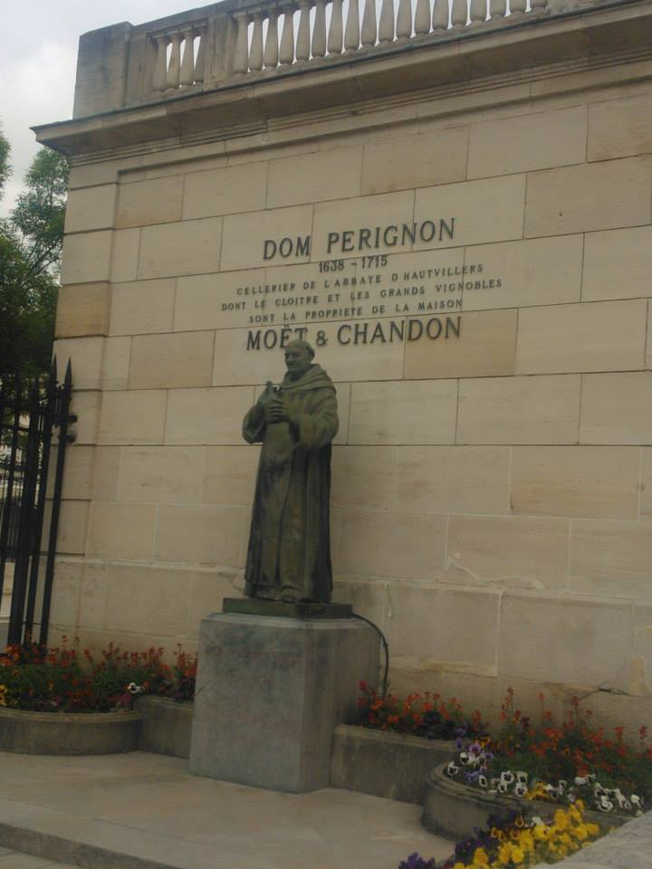 The statue of Dom Perignon at Moët & Chandon.
