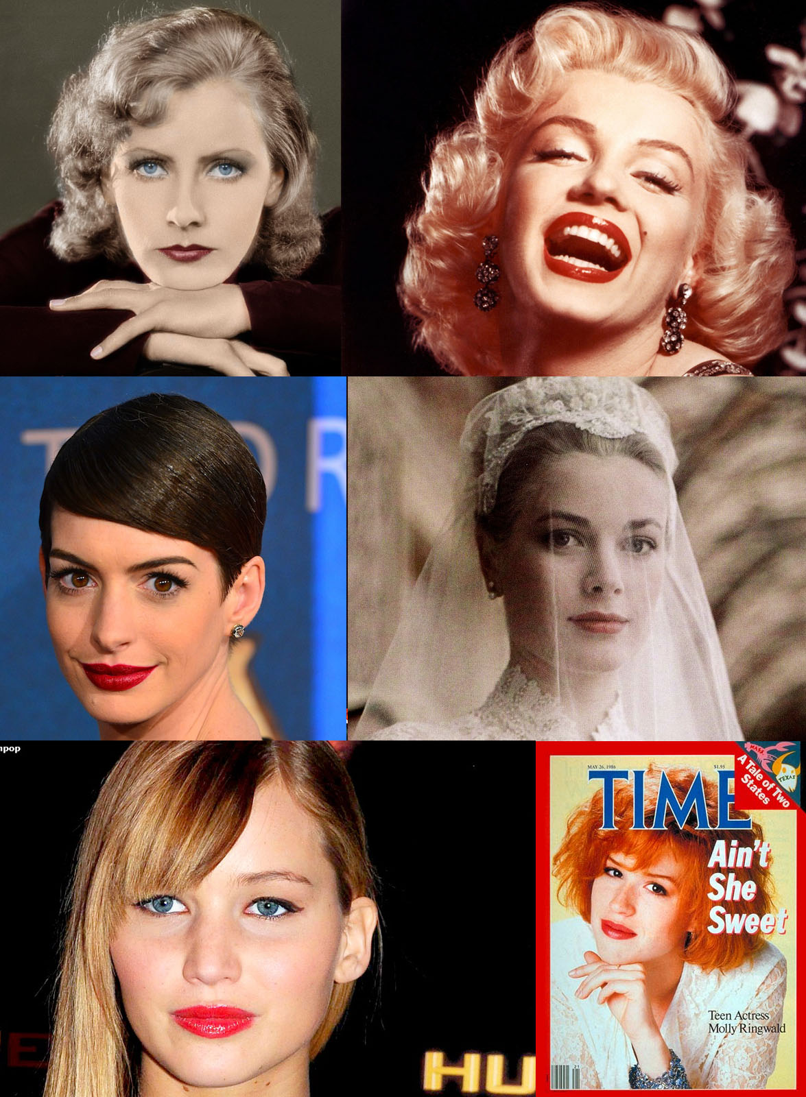 Clockwise from top left: Greta Garbo, Marilyn Monroe, Grace Kelly, Molly Ringwald, Jennifer Lawrence and Anne Hathaway.