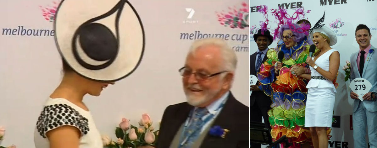 Original photos from Derby Day 2010, showing Martha Lynn and Dame Edna on stage with Melbourne Cup Carnival branding.