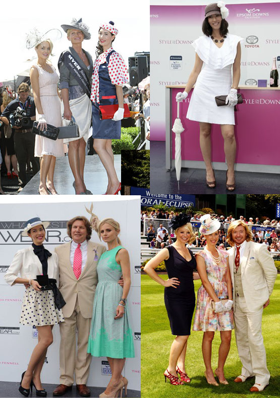Clockwise from top left: 2nd at the 2007 Melbourne Cup; winning Style on the Downs at Epsom, 2009; Best Dressed at Sandown Park, 2011; and winning the What Best to Wear competition at Epsom, 2012.