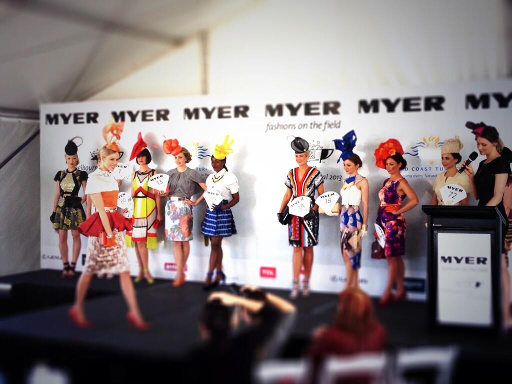 The finalists for the 2013 Myer Fashions on the Field Queensland Final. Photo from the Gold Coast Turf Club.