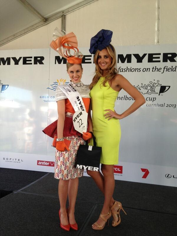 Winner Crystal Kimber with Myer ambassador Laura Dundovic. Photo from the Victoria Racing Club.