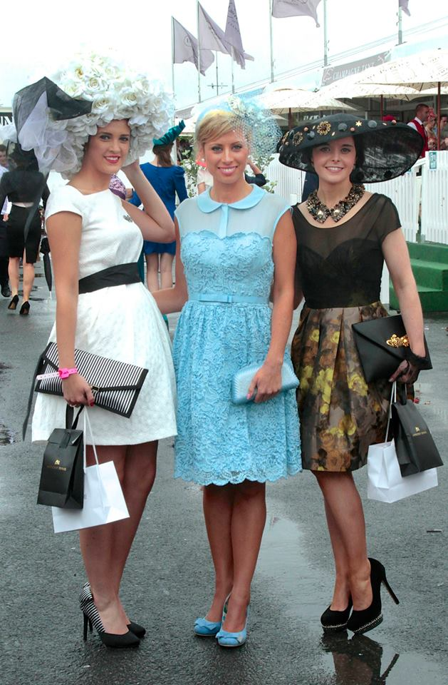 From left, Best Hat winner Alex Butler, Best Dressed Lady Rachelle Guiry, and Wear Irish winner Aisling Maher. Photo from The Galway Advertiser.