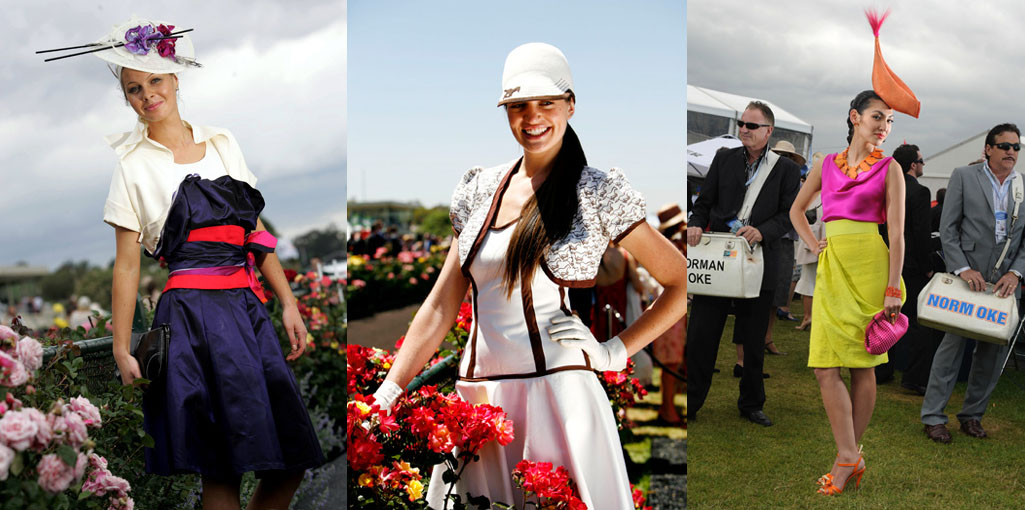 From left: Laura Gleich (2005), Sarah Schofield (2006), and Angela Menz (2011), all won the national Myer Fashions on the Field competition in outfits they designed and made (Laura's with help from her mum). Photos from VRC.