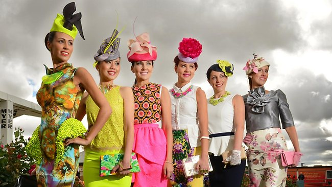 The 2012 state finalist for Myer Fashions on the Field, with Online People's Choice winner, Lou Mallari, second from left. Photo from www.news.com.au.