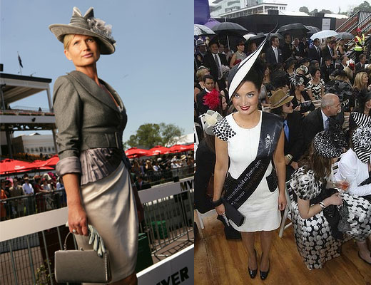 2007 national winner, kiwi Lorraine Cookson, and 2010 Derby Day winner, Ireland's Martha Lynn. Photos from VRC and The Age.