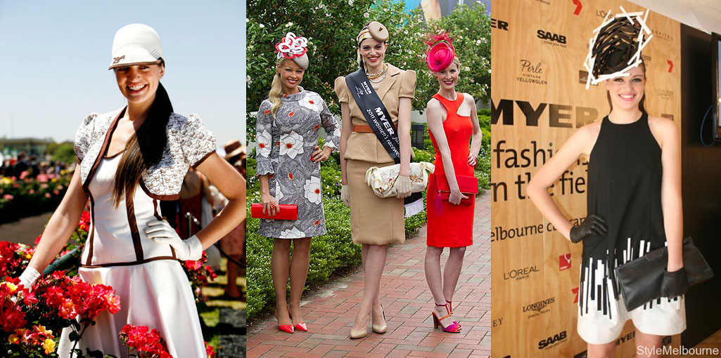 Sarah Schofield's Fashions on the Field wins, from left: 2006 national winner, 2011 Cup Day winner, and 2008 Derby Day winner. See photo credits for sources.