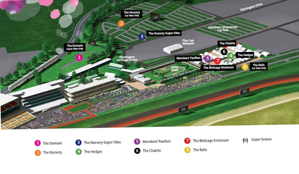 A map of Flemington Racecourse depicting the Nursery, Rails and Domain Areas. Image from vrc.net.au.