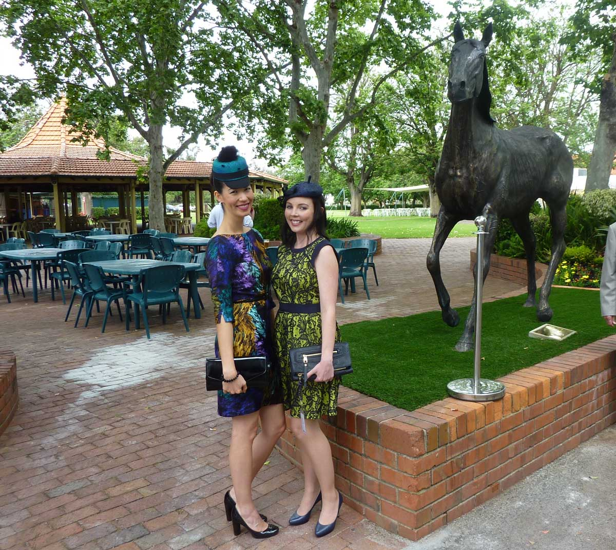 My friend Shelley and I - before the rain - at the newly unveiled statue commemorating champion WA racehorse Northerly.