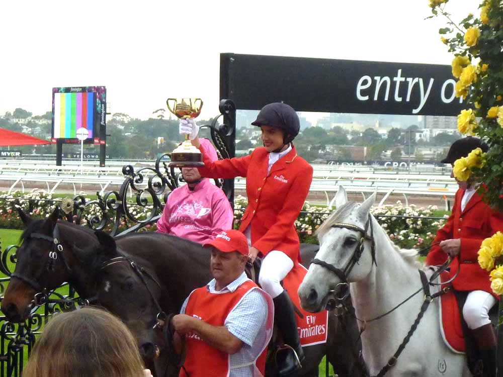The Melbourne Cup returns to Flemington in the grasp of former Miss Universe Australia Rachel Finch.