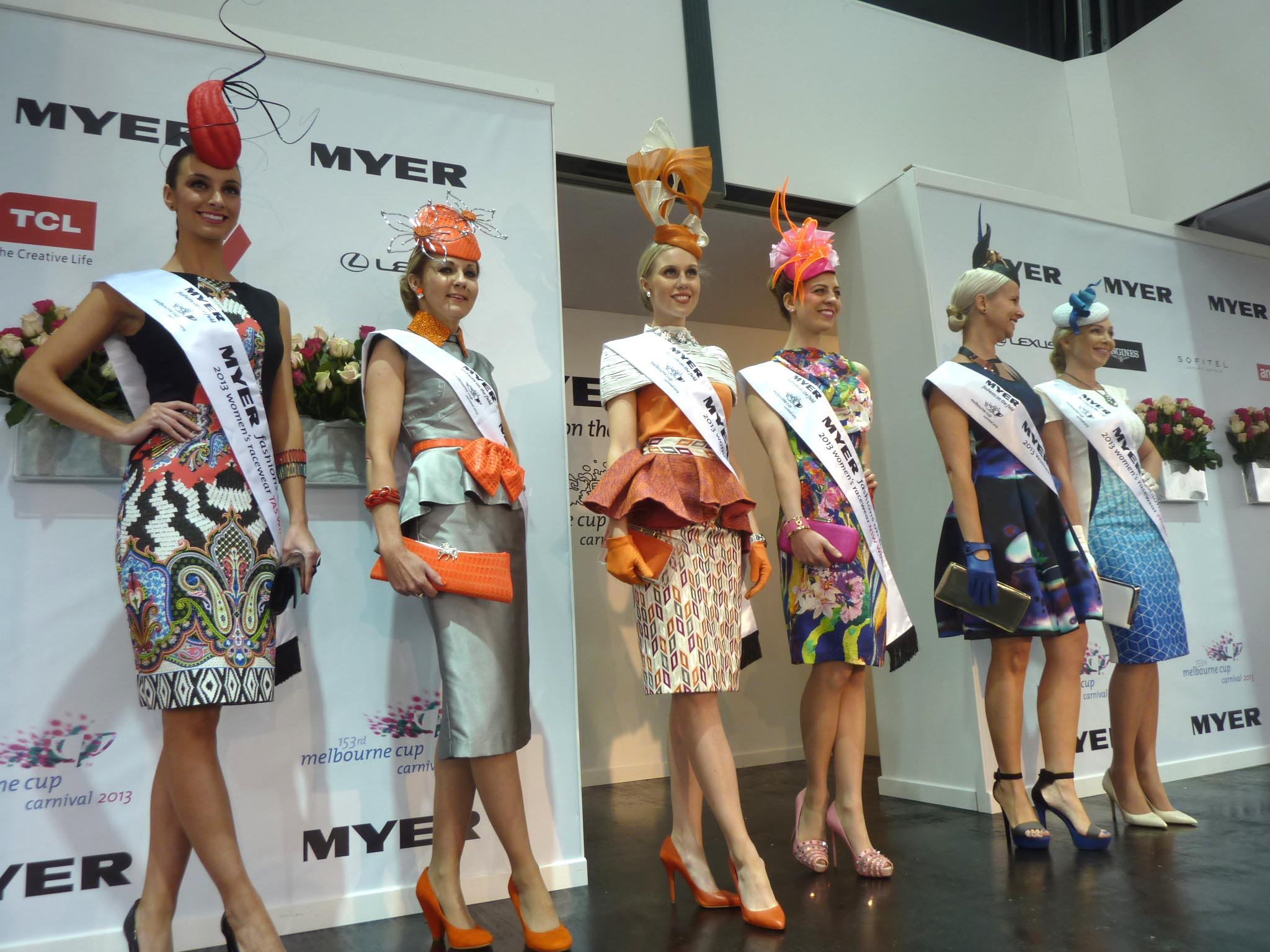 The interstate and People's Choice Award finalists in the 2013 Myer Fashions on the Field.