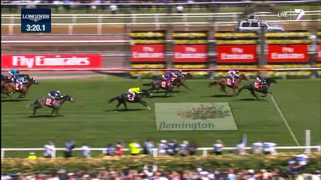 Fiorente wins the 2013 Melbourne Cup. Photo from www.theaustralian.com.au.