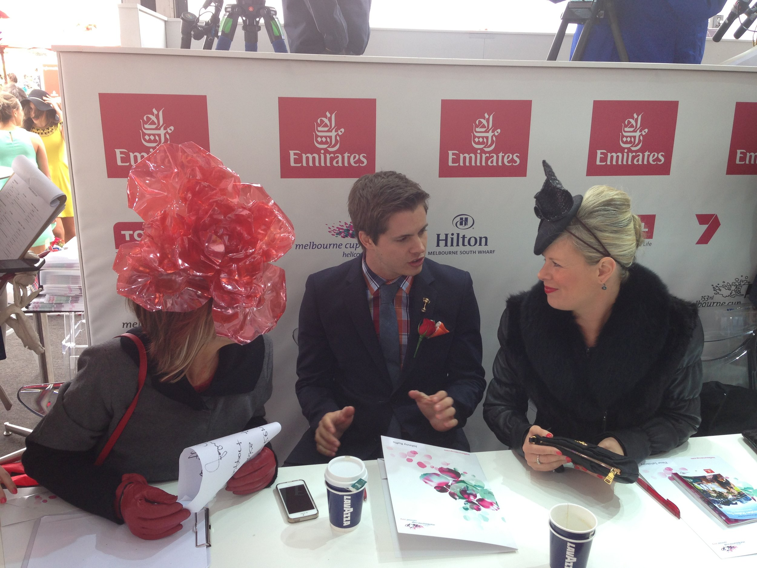 The FOTF judges were dressed for the conditions L-R Kim Fletcher, Johnny Ruffo and Fleur Salisbury