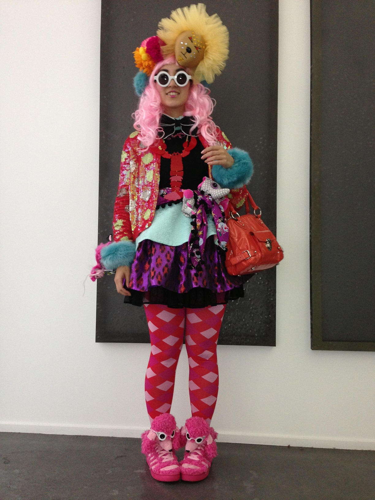 My outfit consisted of many layered pieces from chain stores with my wig from Japan and headwear made by myself