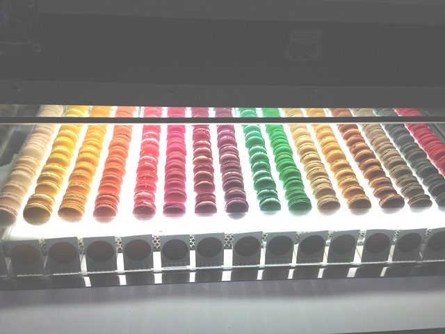 The macaron cabinet with many different flavours on offer