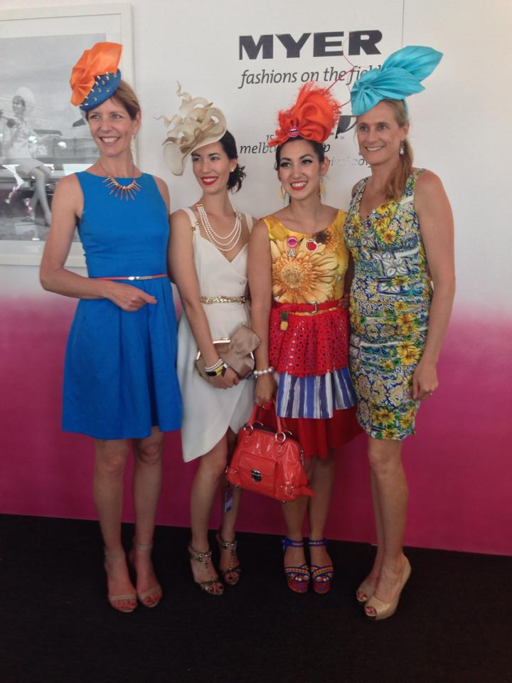 Lisa and Angela with FOTF organisers Bridget Tomkins (left) and Katie Flockart (right) on Melbourne Cup Day.
