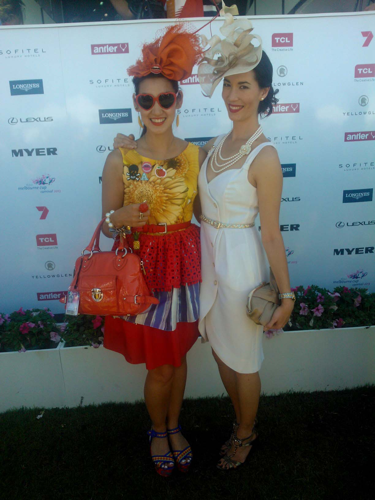 Angela and Lisa arrive at Flemington for Melbourne Cup Day.