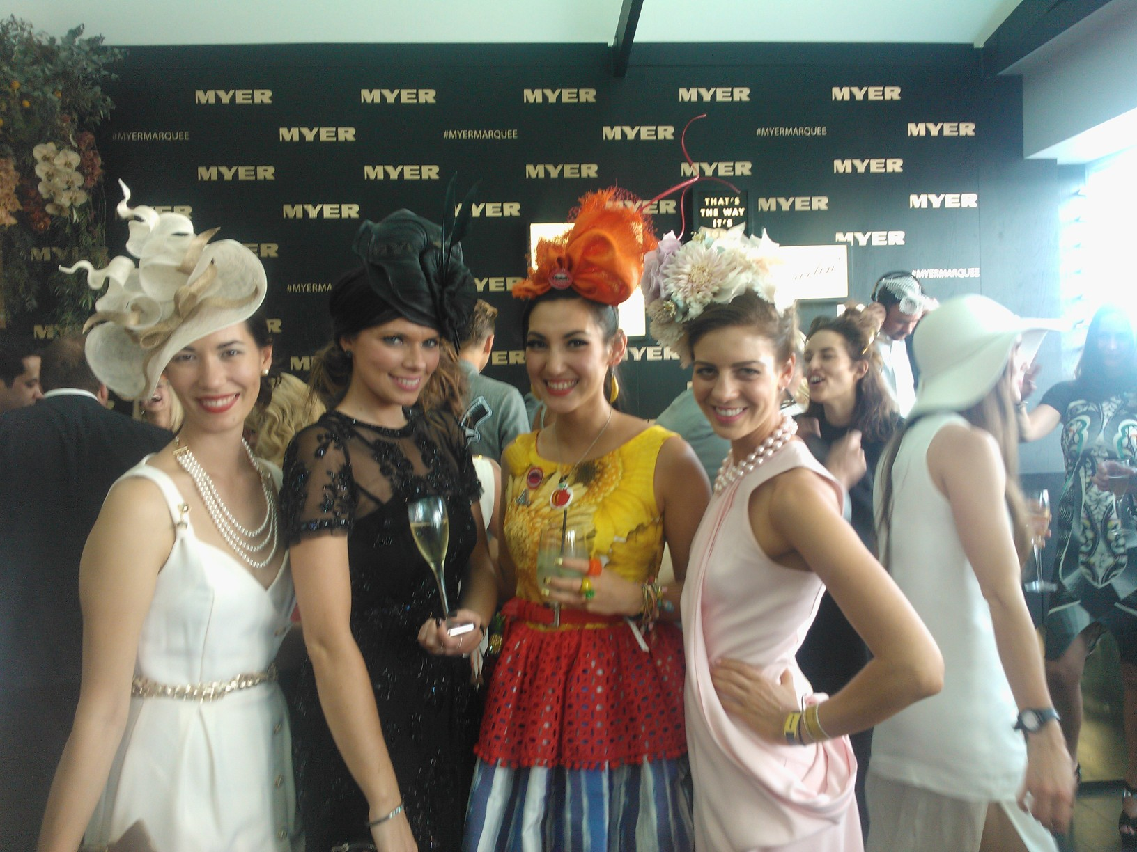 L-R: Lisa, Myer Millinery Buyer Sarah Yeates, Angela and NSW finalist Kelli Odell in the Myer Marquee.