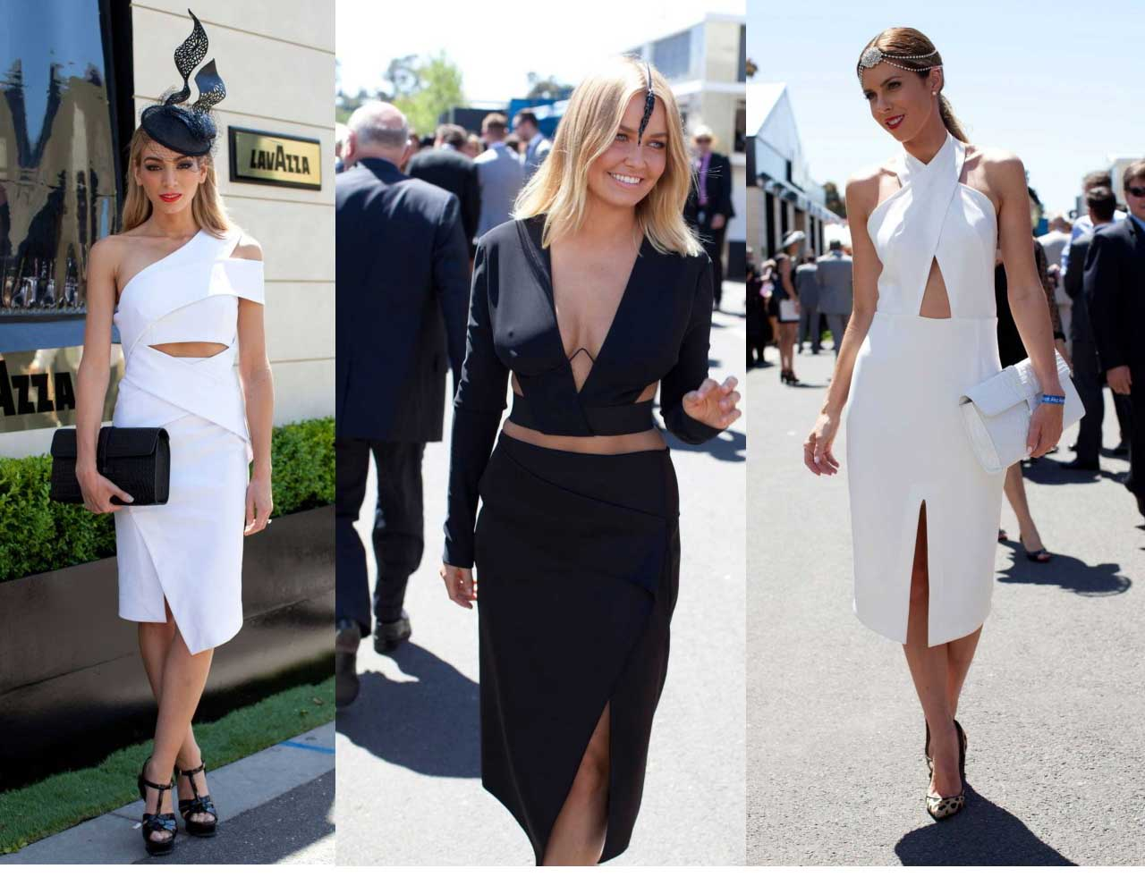 Inappropriate midriff-bearing looks featured in vogue.com.au's Derby Day Street Style section.