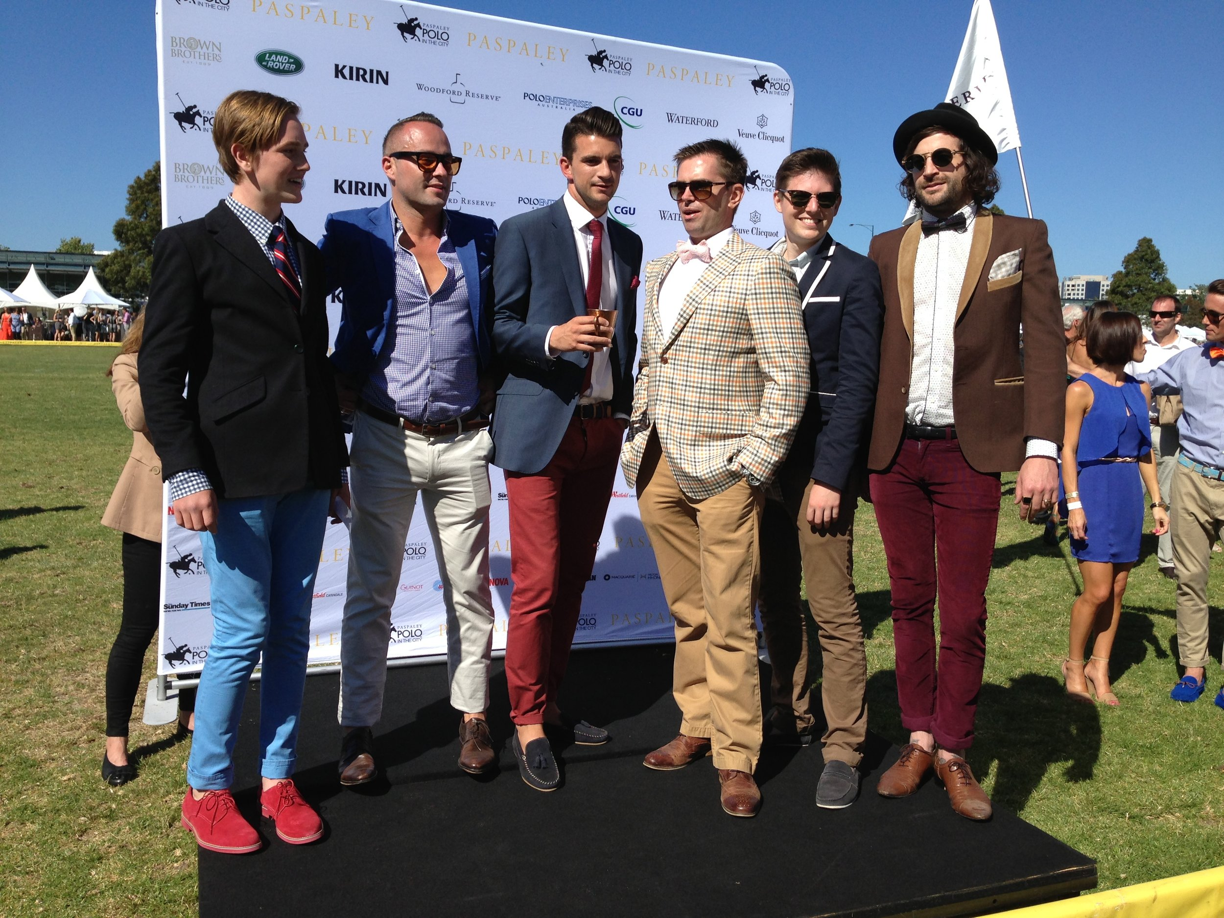 The Men in FOTF, winner in the middle in the blue blazer and red pants